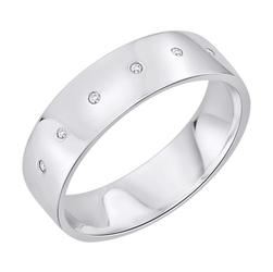Staviori obrączka. 6 diamentów, szlif brylantowy, masa 0,03 ct., barwa h, czystość si2. białe złoto 0,585. szerokość 6 mm. grubość 1,2 mm.  dostępne inne kolory złota.
