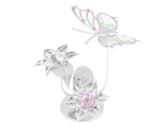 Motyl na kwiatku posrebrzane na chrzest roczek swarovski prezent dedykacja