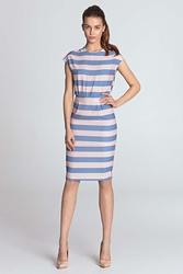 Fioletowa wzorzysta sukienka z zakładkami w talii