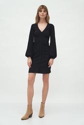 Dopasowana sukienka na guziki - czarna