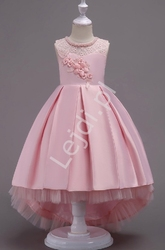 Jasno różowa sukienka dla dziewczynki z trenem na wesele 580