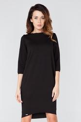 Czarna dzianinowa sukienka z kieszeniami z rękawem 34