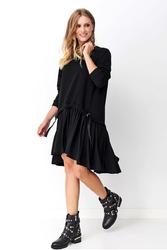 Czarna dziewczęca sukienka dzianinowa
