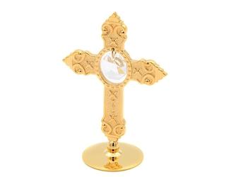 Mały pozłacany krzyż swarovski prezent chrzest