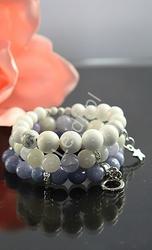 Biała bransoletka z jadeitu, kamienie naturalne, hand made