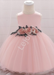 Tiulowa dziecięca sukienka z różanym pasem, jasny róż 1881