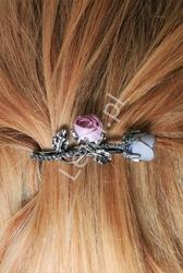 Ozdobna spinka do włosów z kwiatami 3d zdobiona kryształkami, 4