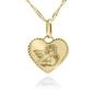 Złoty medalik serce pr. 585 aniołek pamiątka chrztu grawer różowa kokardka - białe z różową kokardką