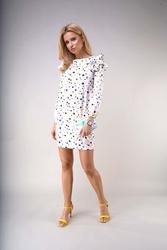 Mini sukienka z falbankami kolorowe plamki