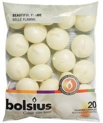 Bolsius, biała, świeca pływająca, 20 sztuk