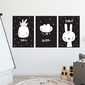 Zestaw plakatów dziecięcych - happy art , wymiary - 50cm x 70cm 3 sztuki, kolor ramki - czarny