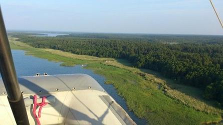 Lot motolotnią - mazury - start z jeziora