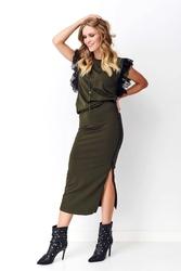 Dresowy komplet spódnica i bluzka z koronką - khaki