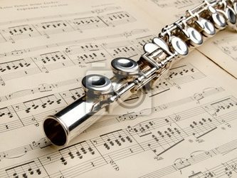 Plakat flet srebrny w starożytnej tło muzyczne