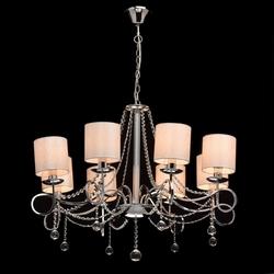 Ośmioramienny żyrandol chrom, białe klosze i kryształy mw-light elegance 684010208