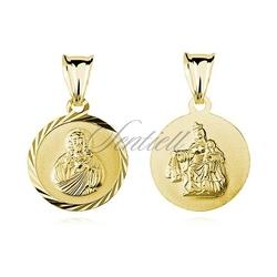 Srebrny pozłacany medalik jezus  matka boska szkaplerzna
