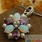 Pawie oko - srebrny wisiorek perły ametysty opale