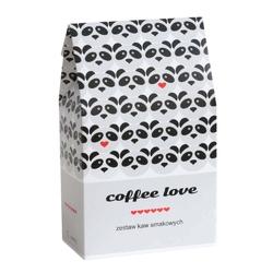 Coffee love zestaw kaw z czekoladkami – prezent upominek dla zakochanych z kawą aromatyzowana smakową  10x10g