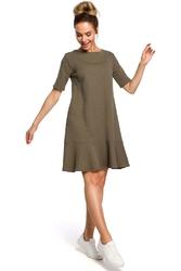 Romantyczna Zielona Sukienka z Wiązaniem na Karku o Kroju Litery A