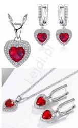 Czerwone serca z podwójną cyrkoniową obwódką - walentynkowy prezent