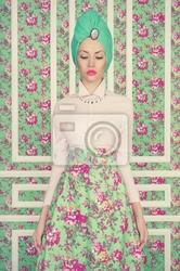 Obraz eleganckie damy na tle kwiatów