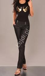 Eleganckie czarne spodnie z łańcuszkami w pasie