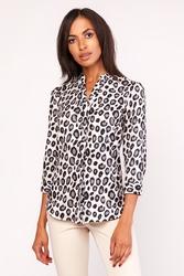 Elegancka wzorzysta koszula w panterkę ze stojką z rękawem ¾