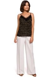 Eleganckie damski spodnie z szerokimi nogawkami ecru s203