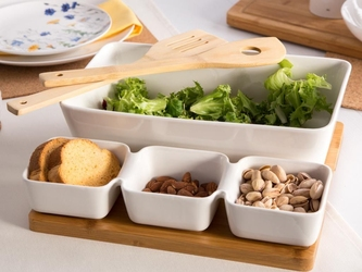 Zestaw naczyń na podstawie bambusowej porcelana altom design regular, komplet naczynie prostokąte i zestaw do dipów 5 elementów