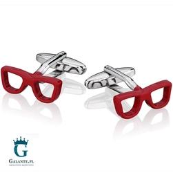 Spinki do mankietów x2 czerwone okulary