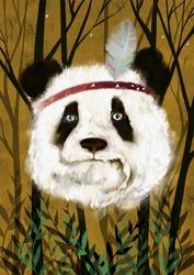 Panda indianin - plakat wymiar do wyboru: 42x59,4 cm