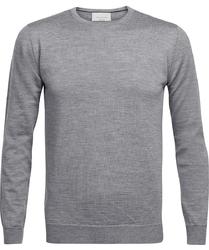 Sweter  pulower o-neck z wełny z merynosów szary melanż xl