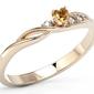 Pierścionek z różowego złota z topazem swarovski honey i brylantami bp-81p - różowe  diament || topaz honey