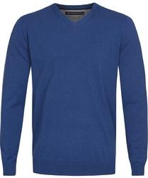 Niebieski sweter  pulower v-neck z bawełny  l