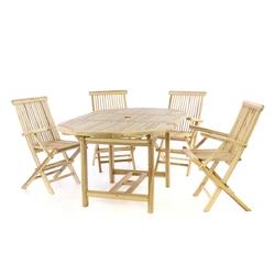 Divero zestaw mebli ogrodowych wypoczynkowy rozkładany stół 4 krzesła teak naturalny