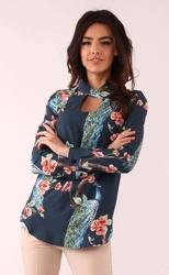 Granatowa wzorzysta bluzka z ozdobnym dekoltem