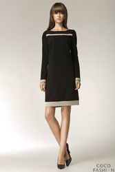 Czarna Elegancka Sukienka z Długim Rękawem i Beżowymi Panelami