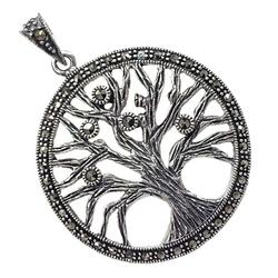 Lobo srebrny wisiorek drzewo życia okrągły markazyty