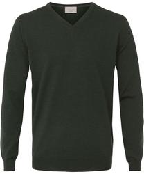 Sweter  pulower v-neck z wełny z merynosów w kolorze butelkowej zieleni xl