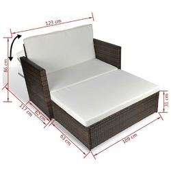 Sofa ogrodowa z podnóżkiem mandal polirattan brązowa