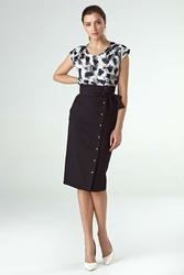 Czarna elegancka midi spódnica z ozdobną szarfą