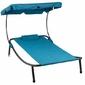 Jednoosobowy leżak ogrodowy z daszkiem niebieski divero