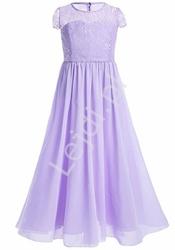 Długa elegancka sukienka dla dziewczynki na wesele w kolorze wrzosowym