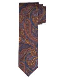 Granatowy jedwabny krawat profuomo vintage w turecki wzór
