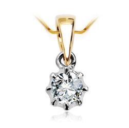Staviori Wisiorek. 1 Diament, szlif brylantowy, masa 0,15 ct., barwa G, czystość SI1. Żółte, Białe Złoto 0,750. Wymiary 4x7 mm. Grubość 4 mm.  Dostępny z dowolnym innym Brylantem na indywidualne zamówienie.