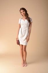Dopasowana sukienka z zakładkami ecru