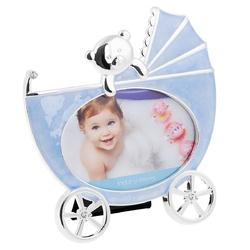 Ramka na zdjęcie błękitny wózek pamiątka chrzest dedykacja