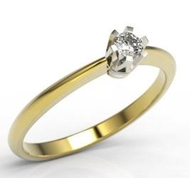Pierścionek zaręczynowy z żółtego i białego złota z brylantem jp-2510zb