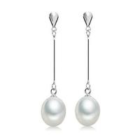 Elena długie wiszące srebrne kolczyki z naturalnymi perłami