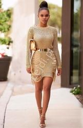 Sweterek miedziany, modna narzutka z nitki ala druciki